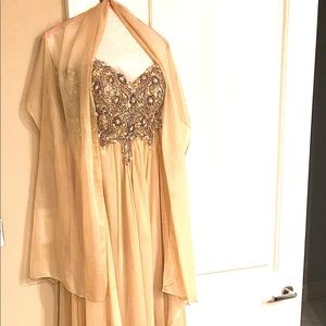 Jovani Strapless Beaded Gown Dress with Shawl
